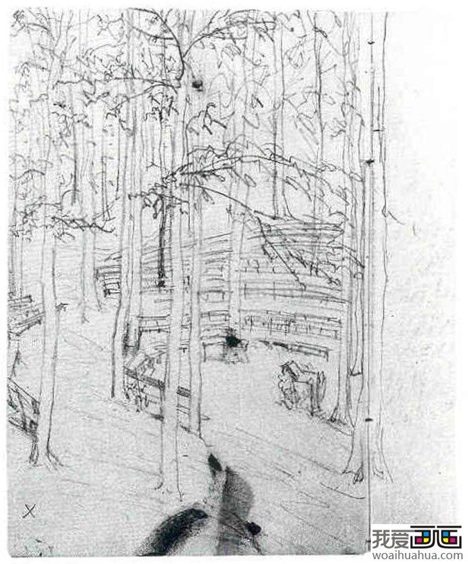 门采尔风景素描速写作品大全(上)-高清素描画图片(2)