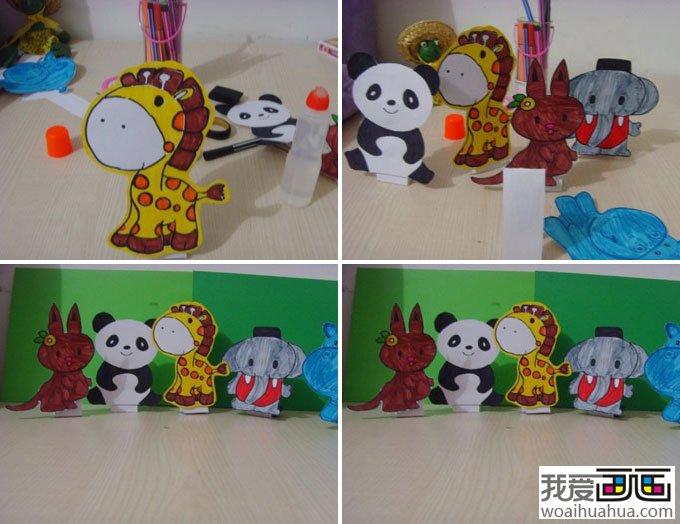 儿童画教程-----手工制作动物DIY儿童画。可以让大人带领小孩或是几个小朋友共同完成各种动物的制作和绘画。让孩子在印有动物轮廓的卡片上涂上自己喜欢的颜色,然后通过折叠的方法把平面的卡片变成立体的小动物,最后装饰一下,用亮片羽毛等。一款可爱的小动物就完成了。