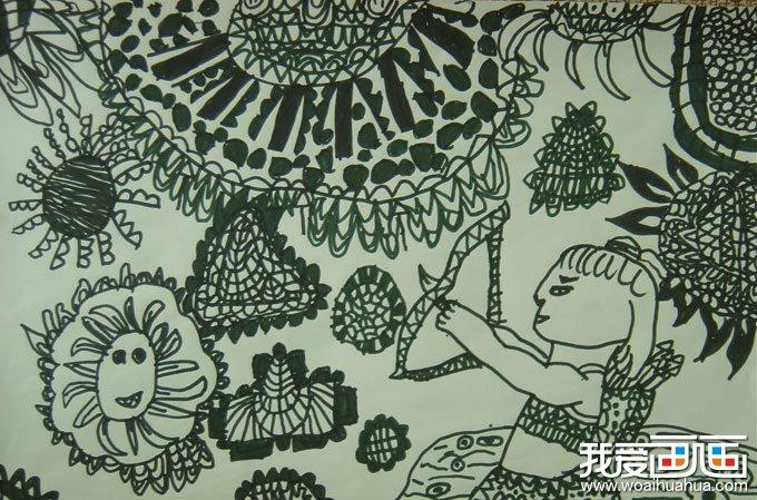 儿童线描画:后羿射日