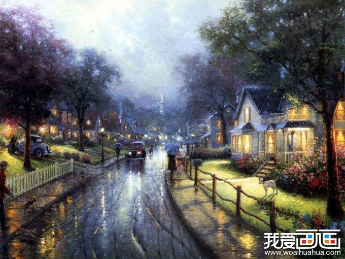 欧洲风情风景油画图片欣赏:夜幕下雨中的小街