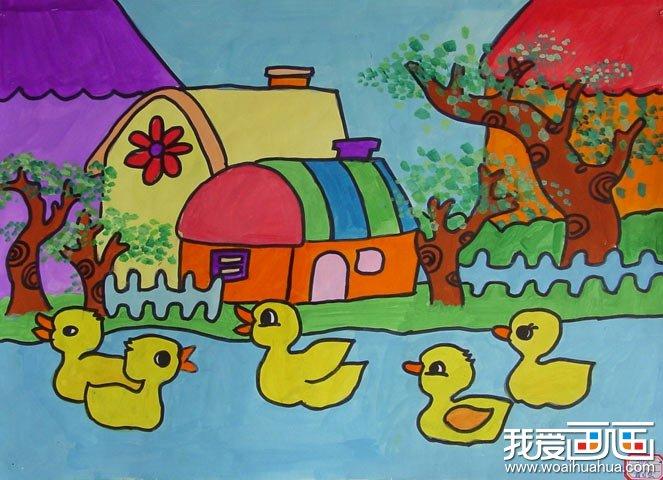 儿童水彩画:河中的5只小鸭子