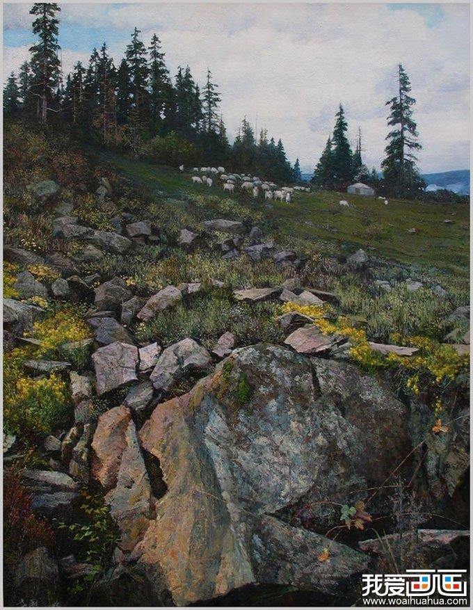 山坡牧羊-风景油画图片作品