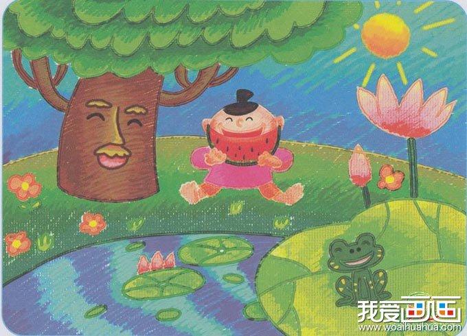 小河边的快乐交响曲 儿童画青蛙大树荷花和吃西瓜的小