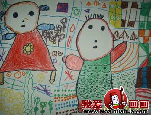 幼儿园中班儿童绘画动物作品(3)我和我的小朋友
