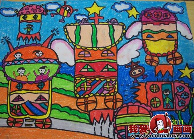 低碳环保科幻画图片学生儿童画欣赏(7)