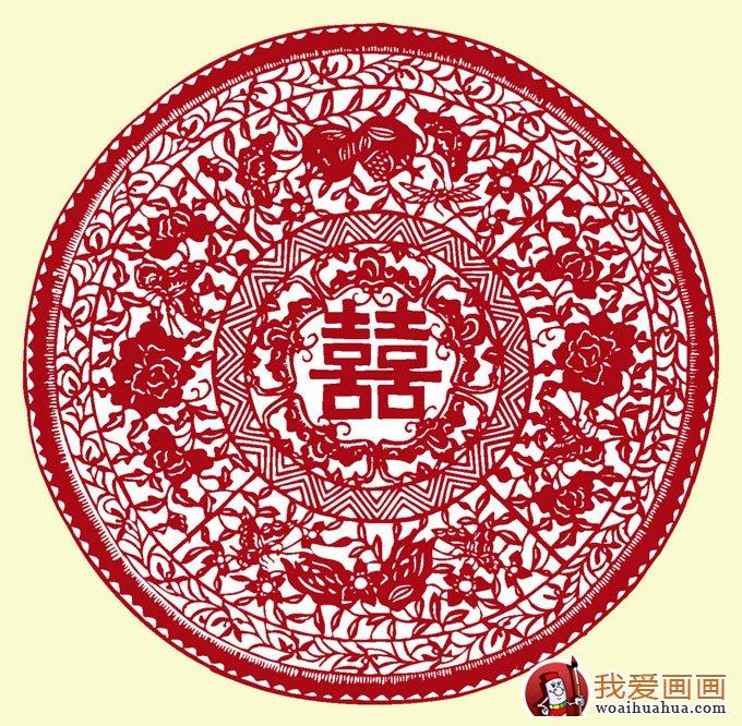 喜字剪纸图案大全:传统圆形团花图案