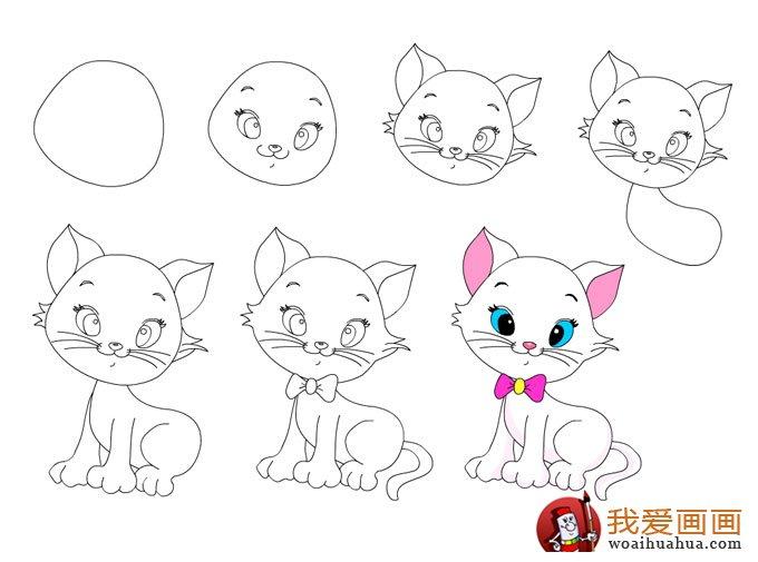 1、画个上窄下宽 的猫头; 2、依次在脸上画出猫咪的眉毛、眼睛、鼻子和嘴巴; 3、猫的耳朵和胡须画出来,猫咪的头部基本完工,是不是已经有模有样了? 4、加上身子; 5、画猫咪的前面两条腿和后面的一条腿(第四条腿挡住了看不见的,不用画了); 6、加上弯弯的猫尾巴,最后在给猫咪脖子上戴个领结; 7、涂上彩色更可爱哦!