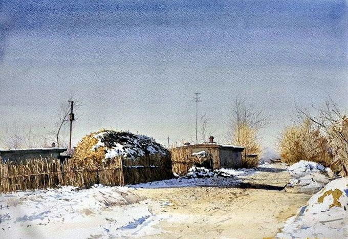 杜拙的水彩风景画欣赏:北方乡村风情水彩画(一)_图片