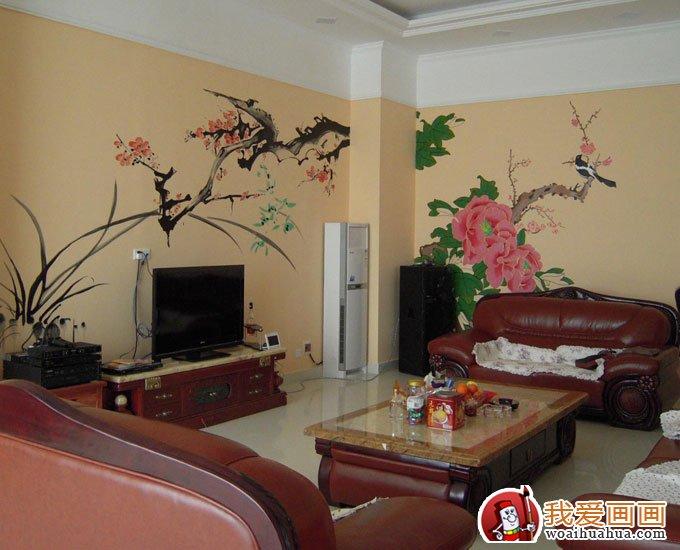 手绘墙画图片:客厅背景墙手绘艺术设计图(5)