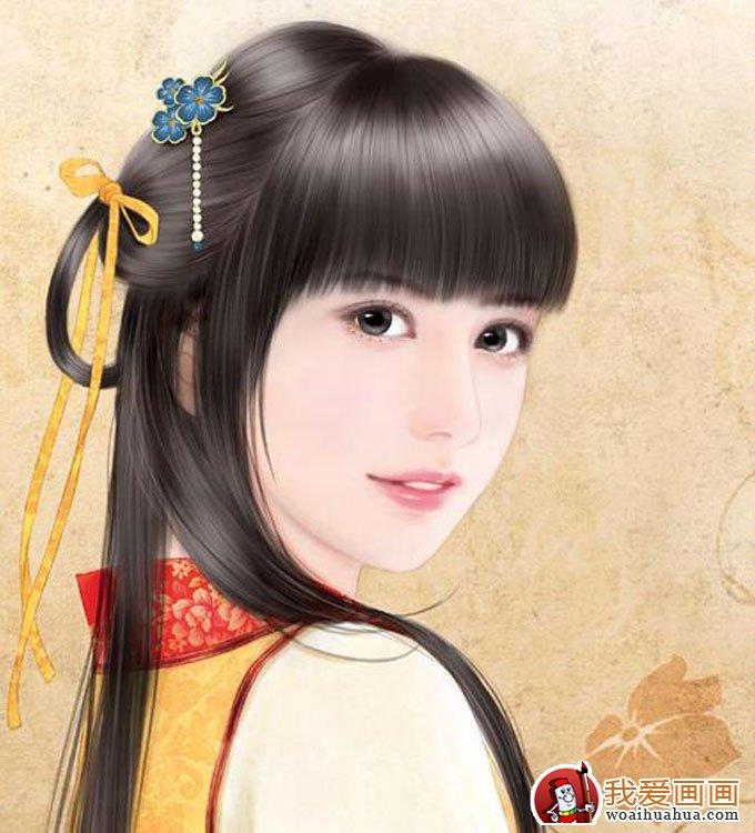 手绘美女头像人物画:手绘古装美女图片(3)_世界名画