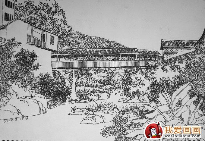 风景钢笔画图片:手绘钢笔画写生及速写作品(2)