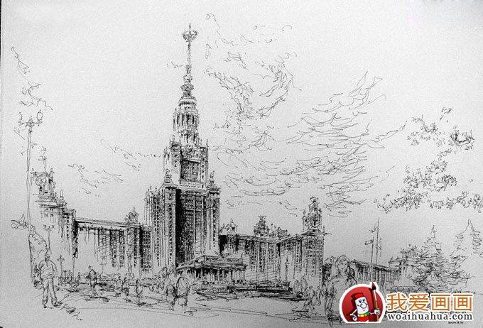 欧式建筑钢笔画风景手绘写生作品欣赏(5)