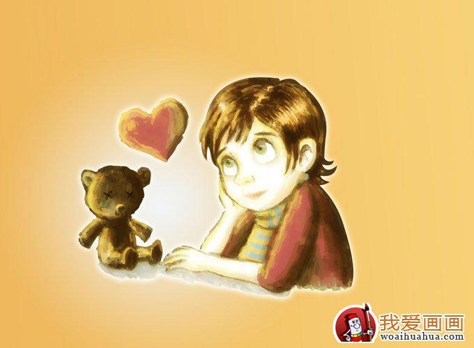 简单的儿童水彩画图片之可爱女孩卡通画 9