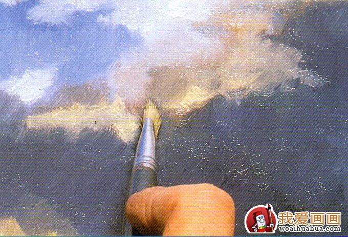 天空的画法图文步骤(3) 然后用群青和紫红开始绘制云中颜色更深,乌云更加密布的部位。  天空的画法图文步骤(4)只用干燥清洁的画笔柔化笔痕,羽化混合的颜料直至平滑柔和为止。  天空的画法图文步骤(5)最后用钛白为整体添加高光,全画完成。