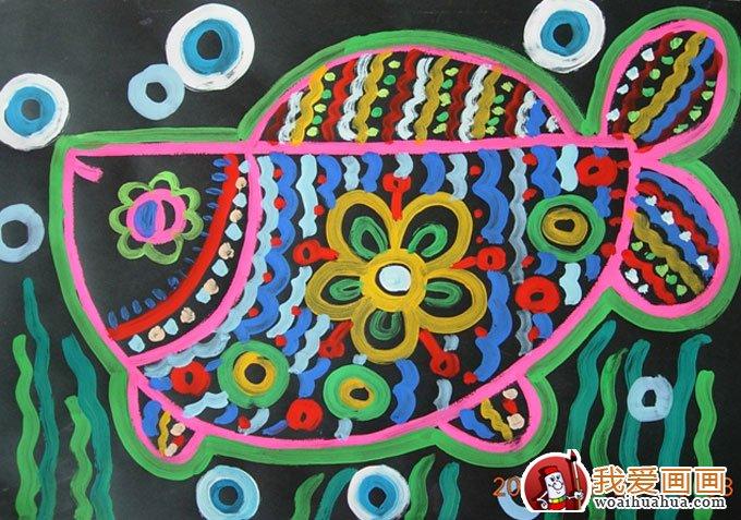 鱼的儿童水粉画:鱼儿鱼儿水中慢慢游(13张图片)(13)图片