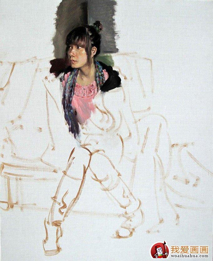 油画人物图片教程:穿靴子的女青年写生作画步骤(4)