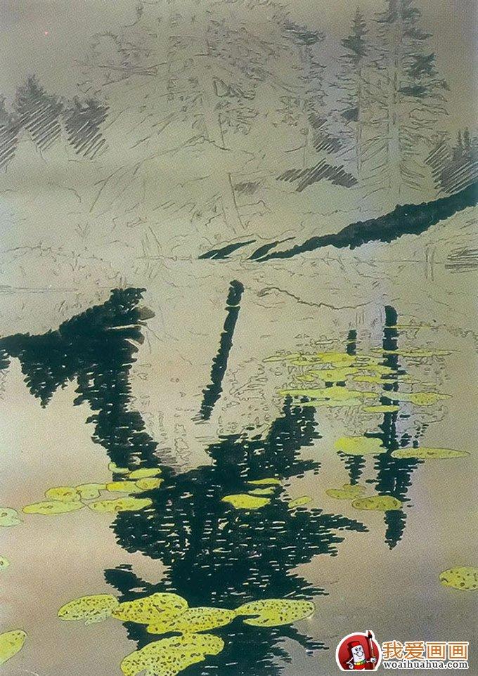 风景油画教程:树林的水中倒影影画绘画方法(2)