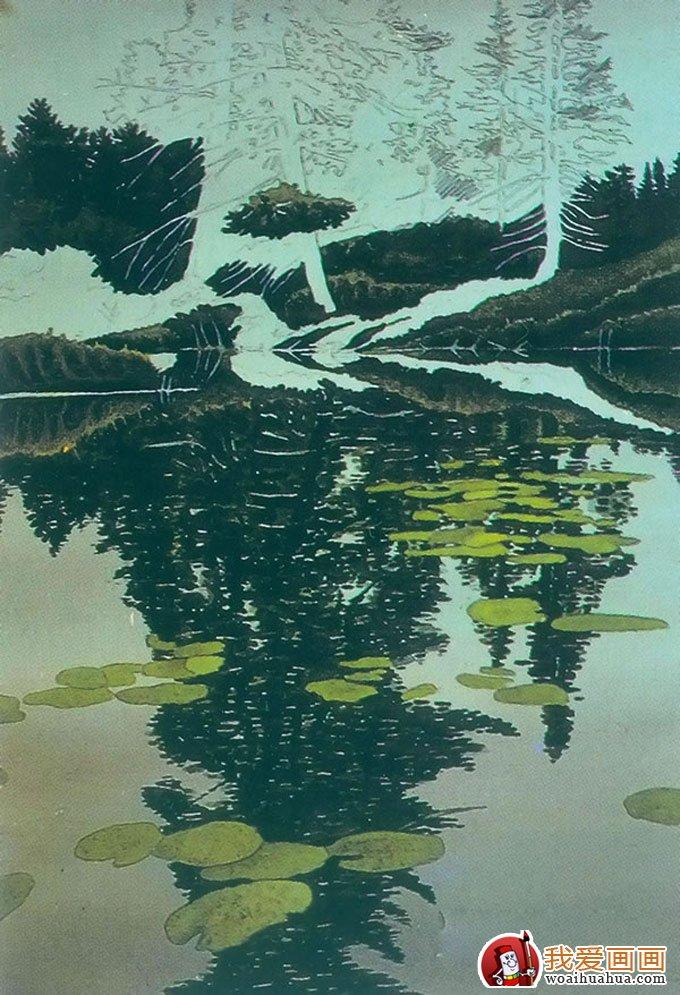 风景油画教程:树林的水中倒影影画绘画方法(3)