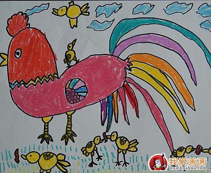 美丽的花公鸡:幼儿园小朋友7副大公鸡儿童画(4)