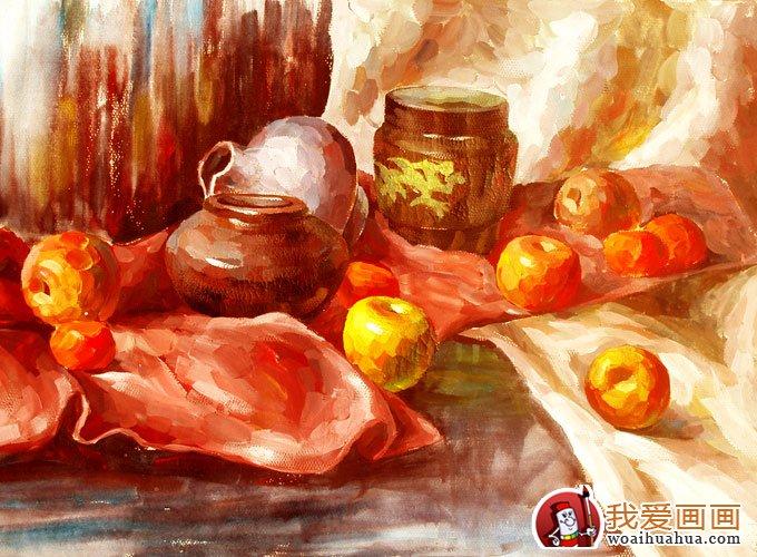 暖色调水果为主的水粉静物图片作品(9p)(2)