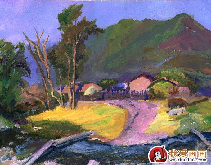 风景水粉画:乡村的田间(林间)小路水粉画图片(4)