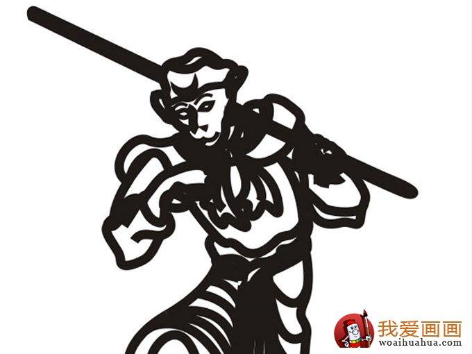 孙悟空黑白线描简笔画:可爱简笔画孙猴子(5)