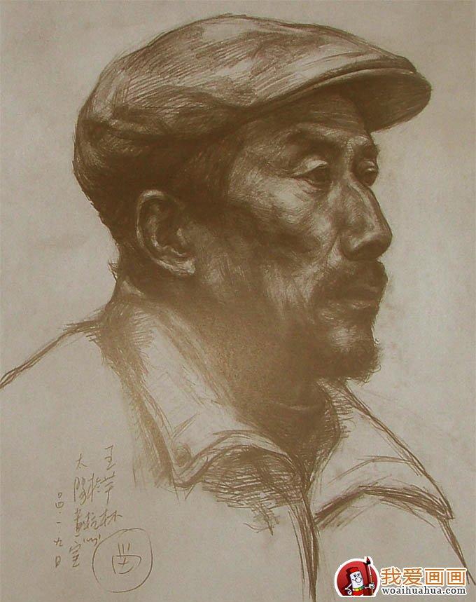 素描头像教程:戴帽子的老人头像素描写生步骤(3)