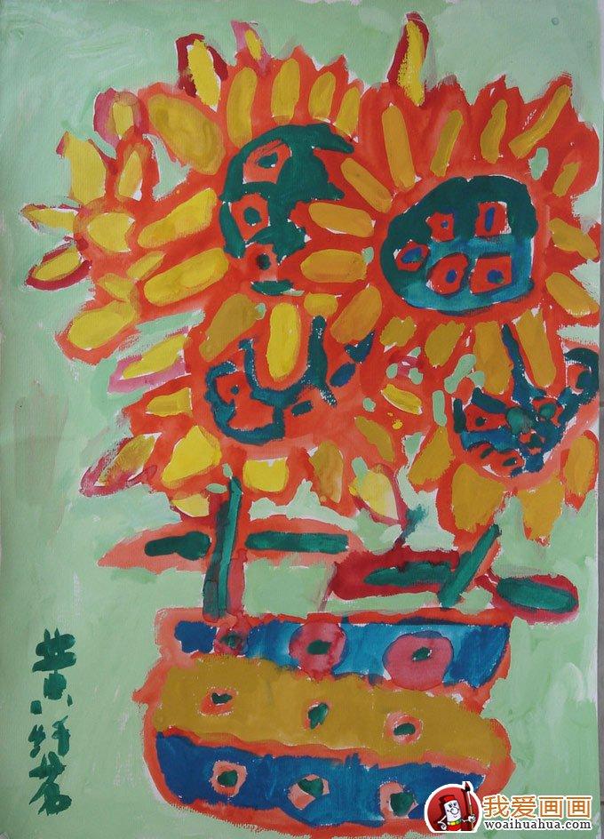 向日葵儿童水粉画:幼儿园小朋友画的向日葵水粉画(2)