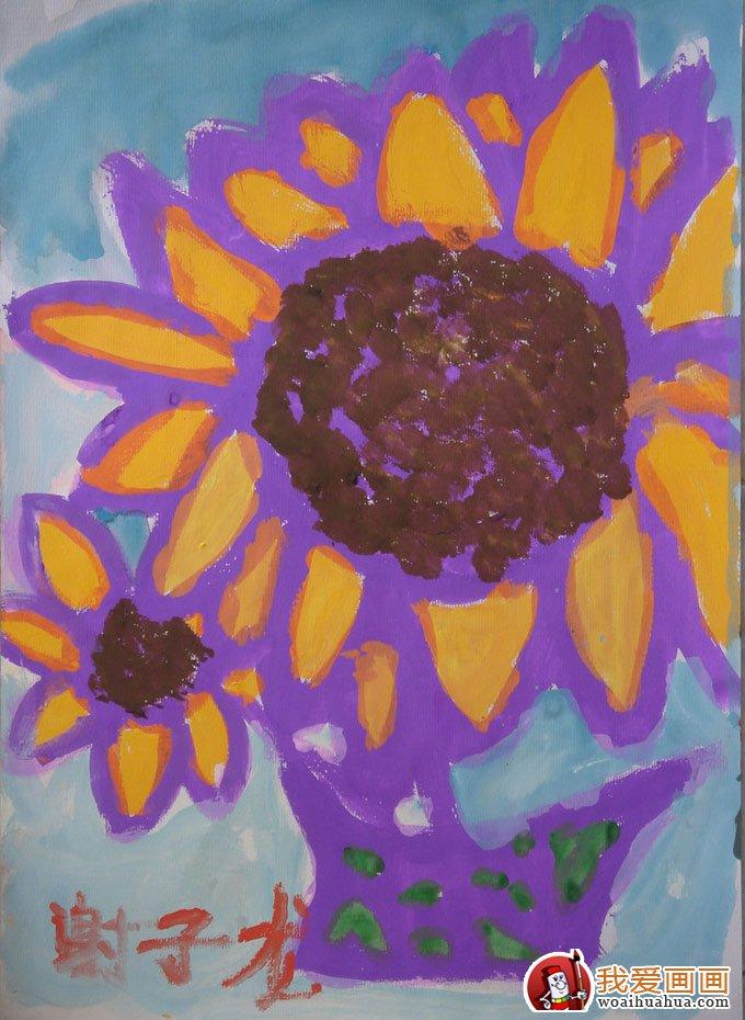 向日葵儿童水粉画:幼儿园小朋友画的向日葵水粉画(3)