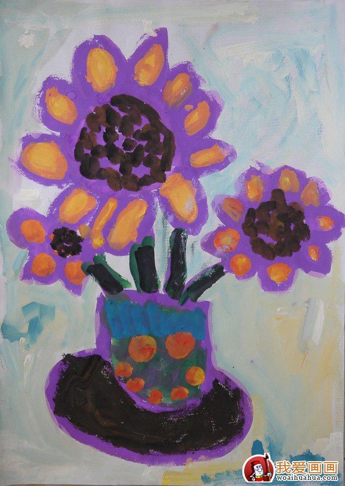 向日葵儿童水粉画:幼儿园小朋友画的向日葵水粉画(5)