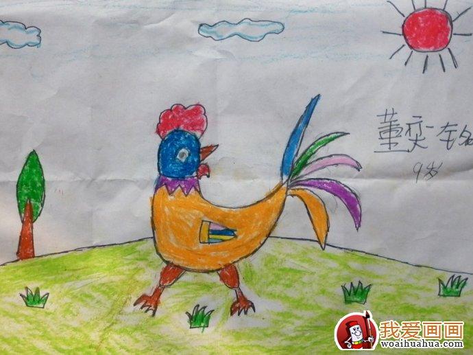 大公鸡儿童画:大公鸡简笔画油画棒填色作品12副(4)