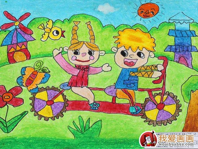 幼儿绘画作品图片:骑着自行车去春游