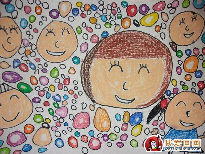 幼兒畫畫作品圖片:繽紛多彩的泡泡世界