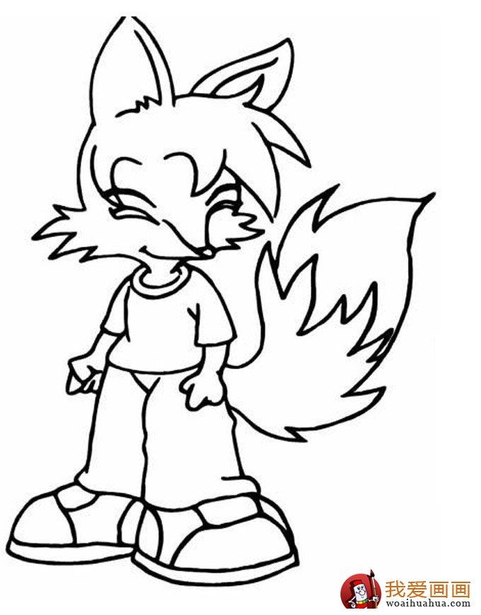 简笔画狐狸大全:可爱的小狐狸简笔画图片13张(12)