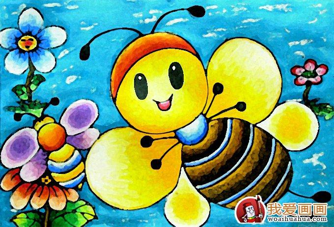 儿童画蜜蜂彩色图片大全:可爱勤劳的小蜜蜂
