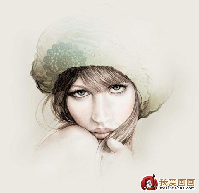 彩铅画:逼真的人物彩色铅笔素描大图(7)
