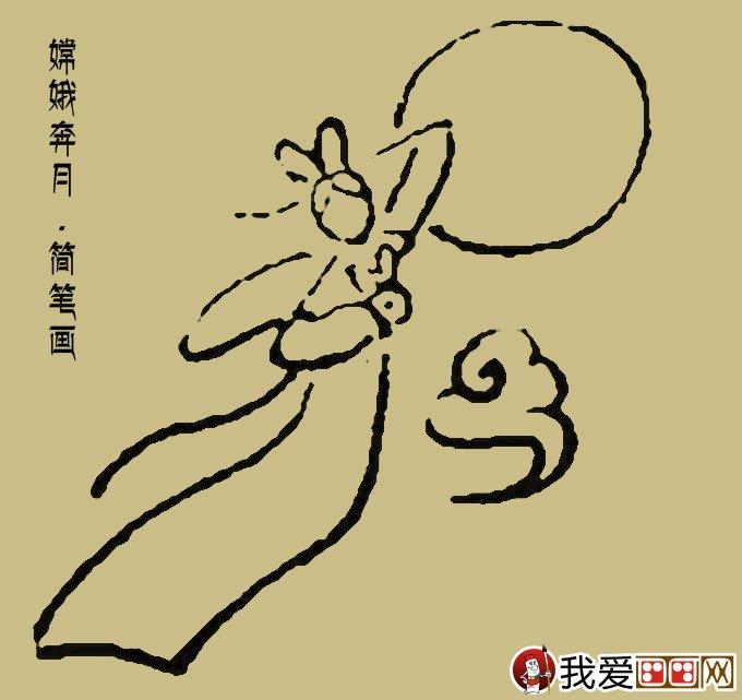 嫦娥简笔画 一副最简单的嫦娥奔月简笔画