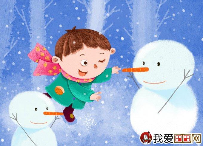 卡通画     儿童画冬天的 画画图片:有关冬天的儿童卡通画:男孩女孩堆