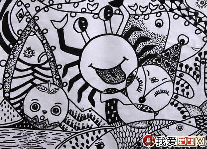优秀黑白线描儿童画:水果,动物,螃蟹