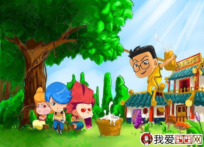 大树儿童卡通画 两幅有关大树的儿童插画
