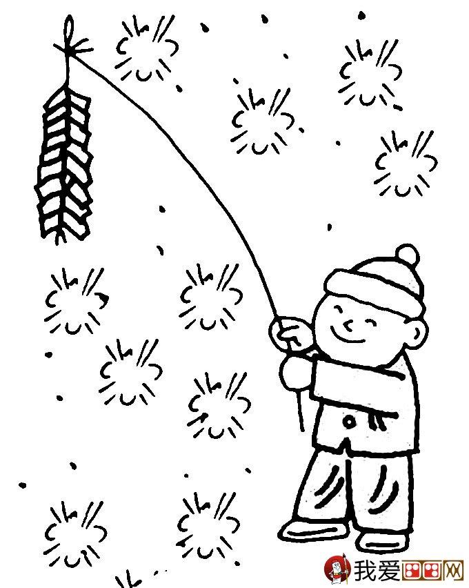 放鞭炮简笔画图片大全:新年儿童简笔画鞭炮(2)