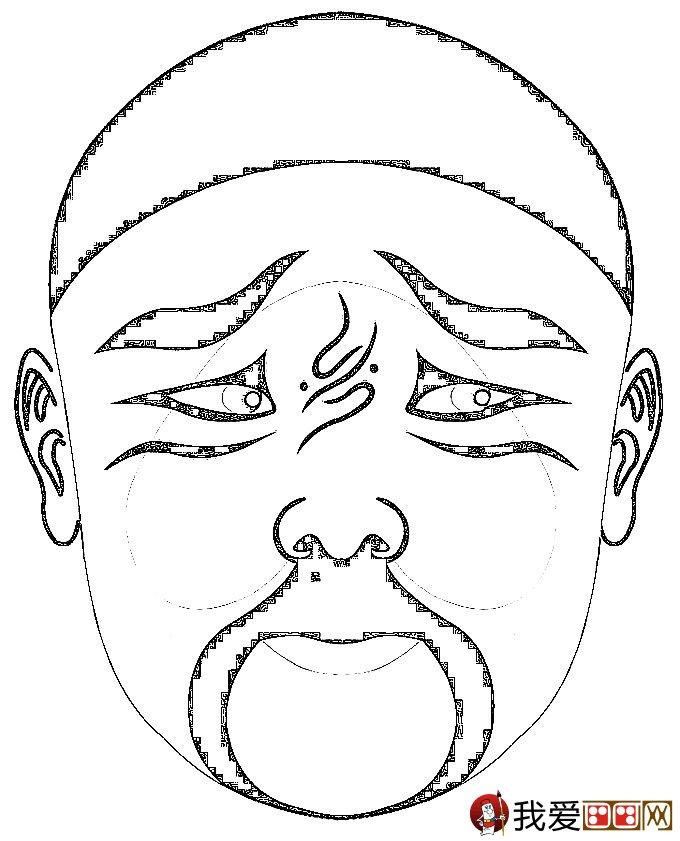 幼儿京剧脸谱简笔画图案:京剧脸谱简笔画图片大全(3)