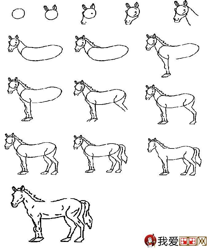 简笔画马的画法:教你怎么画马的简笔画教程_儿童画_学