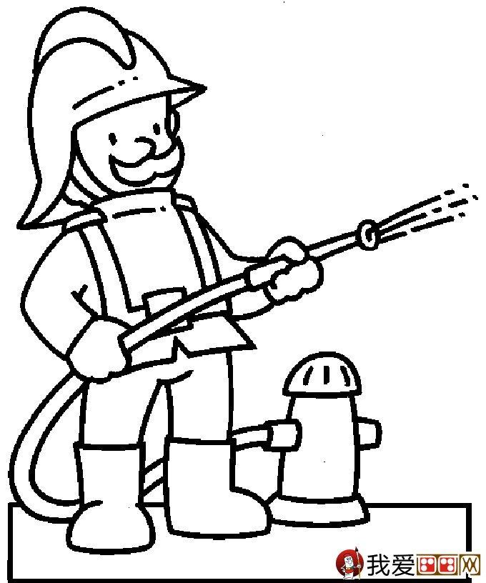 消防员简笔画,消防员救活灭火简笔画图片大全(2)