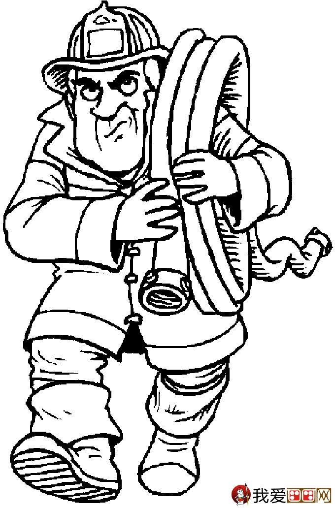 消防员简笔画,消防员救活灭火简笔画图片大全(7)
