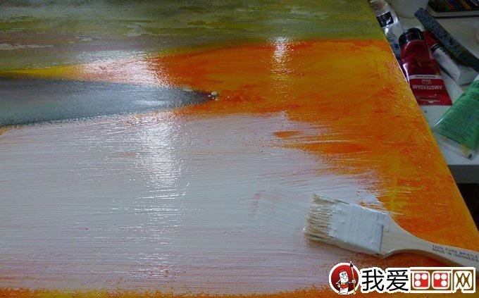 混合颜料绘画教程:白色岩石 丙烯酸 油画棒画风景画(2