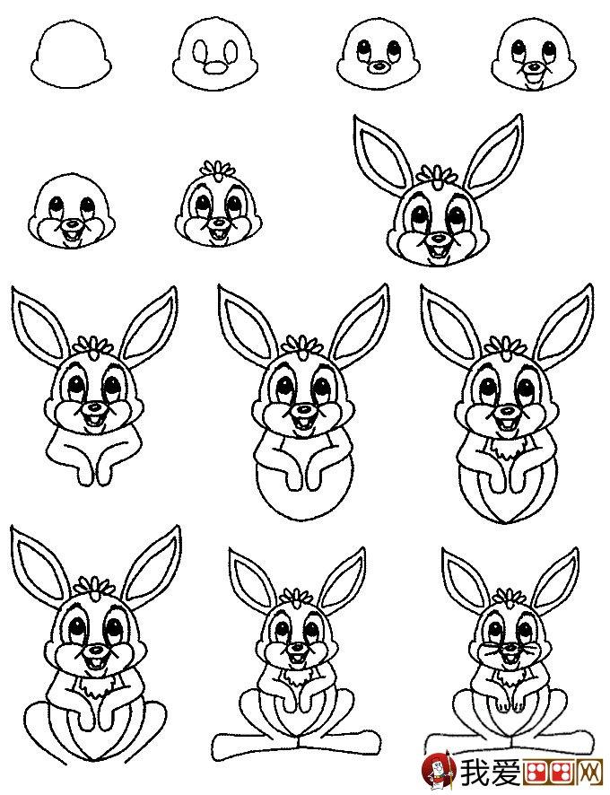 3个简笔画兔子绘画教程:兔子简笔画画法(3)