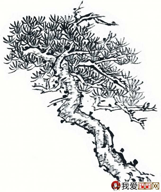 国画松树的画法:松柏松树水墨画图片大全69p之水墨黑白篇(5)