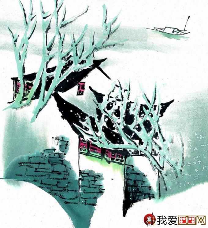 山水水墨画:江南水乡冬天彩墨国画风景图片(46)