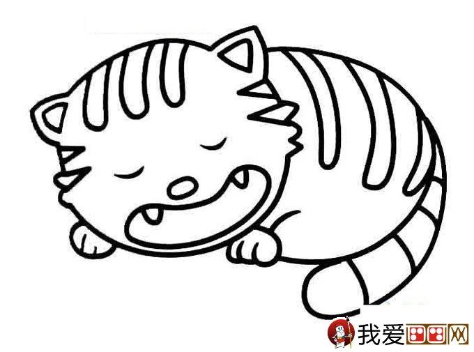 猫的简笔画大全 可爱动物简笔画猫图片16副 5